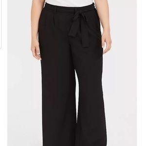Torrid wide leg tie front black crop pants 1 14 16